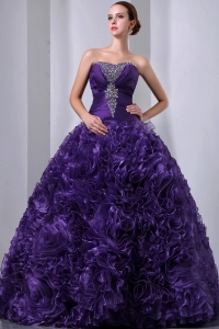 Strapless Purple Quinceanea Dress Beading Rolling Flowers