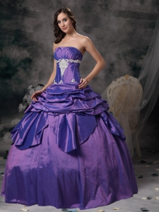 Purple Appliques Ball Gowns for Sweet Sixteen Quinceanera