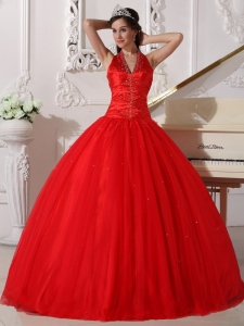 Red V-neck Halter Beading Quinceanera Dresses Ball Gown