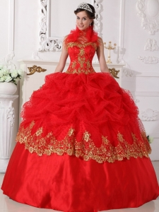 Halter Quinceanera Dress Red and Gold Beaded Appliques