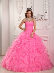 Ruffled Layers Beaded Flowers Rose Pink Quinceanera Ball Gown