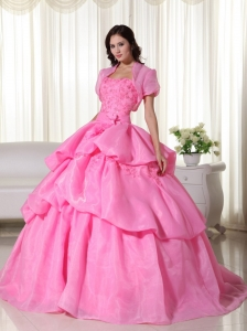 Hand Flowers Quinceanera Dress Appliques Rose Pink Gowns