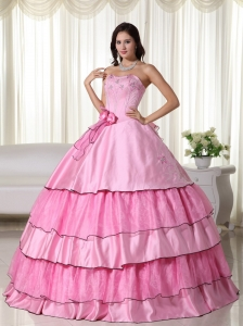 Layered Ruffles Rose Pink Quinceanera Gown Dress Beaded