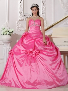 Hand Made Flowers Quinceanera Dress Rose Pink Beaded Gown