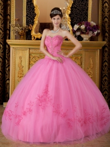 Rose Pink Beading Ball Gown Quinceanera Dresses Appliques