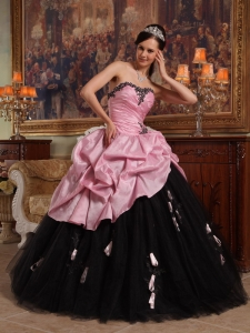 Hand Flowers Rose Pink and Black Quinceanera Ball Gown