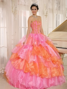 Ruffled Appliques Rose Pink and Orange Quinceanera Dress