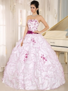 White and Fuchsia Ruffles Quinceanera Dress Embroidery