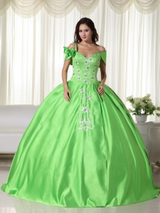 Off the Shoulder Embroidery Quinceanera Dress Spring Green