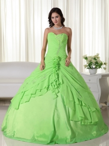 Spring Green Sweet Sixteen Beaded Quinceanera Dress Chiffon