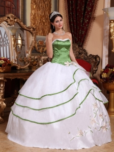 Embroidery Ball Gown Quinceanera Dress Olive Green and White