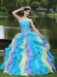 Ruffles Layered Colorful Quinceanera Dress For Graduation