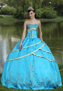Embroidery Strapless Baby Blue Sweet 15 Quinceanera Gowns