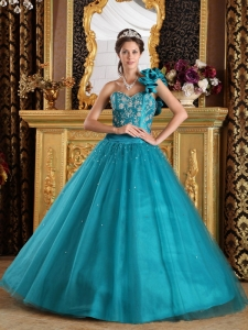 Appliques One Shoulder Beading Quinceanera Dresses Teal