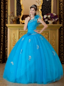 One Shoulder Appliques Teal Quinceanera Dress Flowers Beaded