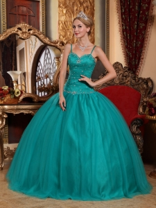Spaghetti Straps Turquoise Quinceanera Ball Gown Beaded
