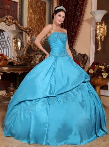 Strapless Quinceanera Dress Blue Ball Gown Taffeta Beaded