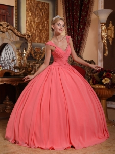 V-neck Beaded Watermelon Quinceanera Dress Ball Gown