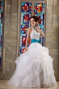 Ball Gown Halter White and Blue Quince Dress Organza Sash