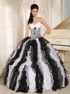 White and Black Appliques Ruffles Quinceanera Dresses