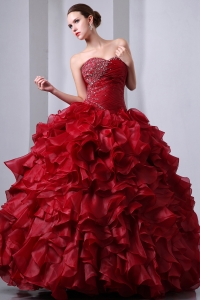 Beaded Ruffles Quinceanea Dress Wine Red Sweetheart