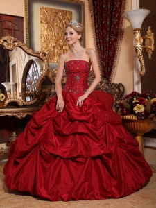 Beading Wine Red Sweet 16 Quinceanera Dresses Pick-ups