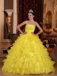 Ruffles Bright Yellow Organza Beaded Quinceanera Ball Gown