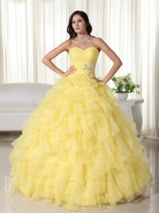 Ruffles Beaded Ball Gown Appliques Quinceanera Dress Yellow