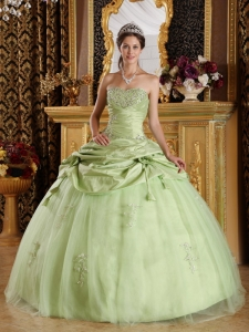 Beading Flowers Yellow Green Ball Gown Quinceanera Dress