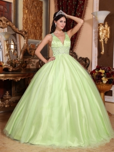 V-neck Yellow Green Quinceanera Dress Criss-cross Beading