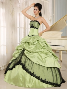 Quinceanera Dress Yellow Green and Black Pick-ups Appliques