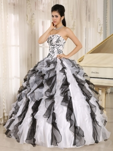 Multi-color Embroidery Quinceanera Dress Cascading Ruffles