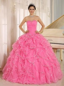 Ruffles Beaded Rose Pink Sweet Sixteen Quinceanera Dress