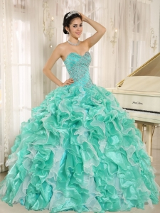 Apple Green Sweet 16th Dress Beading Organza Ruffles