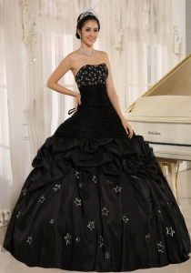 Black Quinceanera Dress Strapless Appliques Taffeta Ball Gown