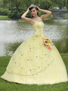 Appliques Embroidery Quinceanera Dress Light Yellow Strapless