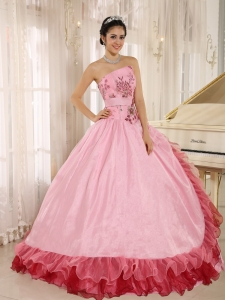 Appliques and Hand Made Flowers Quinceanera Dress Rose pink