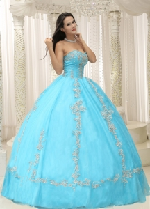 Sweetheart Quinceanera Dress Aqua Blue Appliques and Beaded