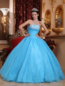 Appliques Quinceanera Dress Baby Blue Ball Gowns Ruching