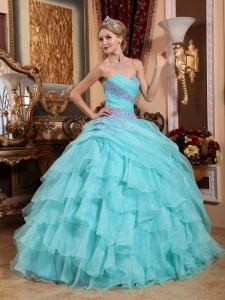 Sweetheart Quinceanera Dress Organza Appliques Aqua Blue