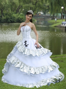 Organza Taffeta Strapless Ball Gown for Military Ball Appliques