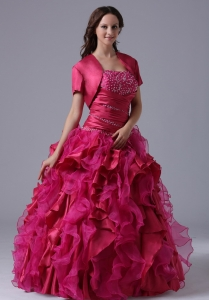 Ruffles Quinceanera Dress Beaded Ruch Ball Gown Fuchsia