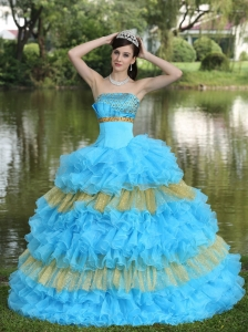 Dress for Quinceanera Beaded Sequins Aqua Blue Yellow Tiered