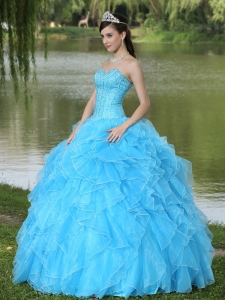 Cascading Ruffles Sweet 15th Dress Aqua Sweetheart Beaded