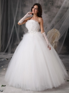 Princess Bridal Wedding Dress Strapless Tulle Appliques Gloves