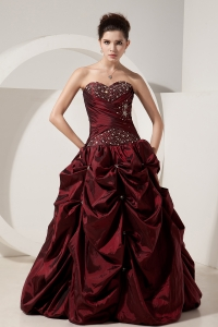Burgundy Taffeta Quinceanera Dress Princess Sweetheart Beading