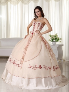 Champagne Quinceanera Dress Ball Gown Sweetheart Embroidery