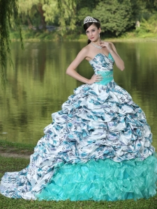 Printing Organza Quinceanera Dress Beaded Brush Train Colorful
