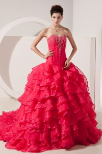 Taffeta Beading Quinces Dress Coral Red Sweetheart Brush Train