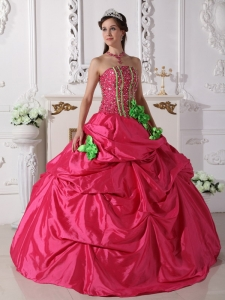 Hand Made Flowers Hot Pink Ball Gown Beaded Quince Dresses